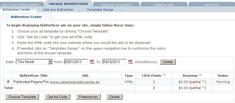 editar anuncio bidvertiser